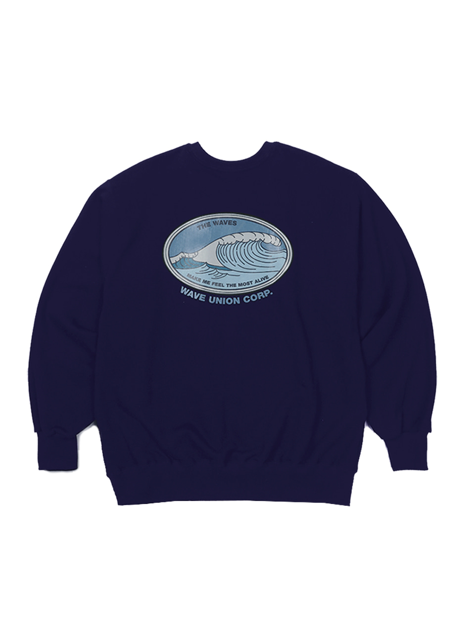 Oval wave Sweat shirts navy